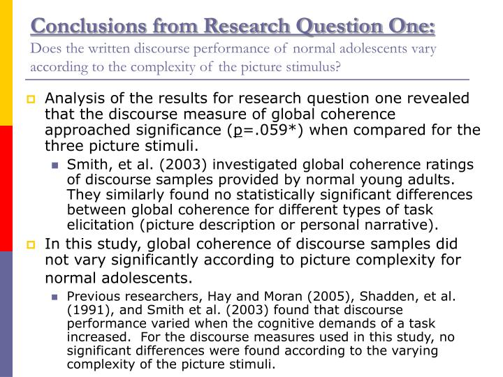 Conclusions from Research Question One: