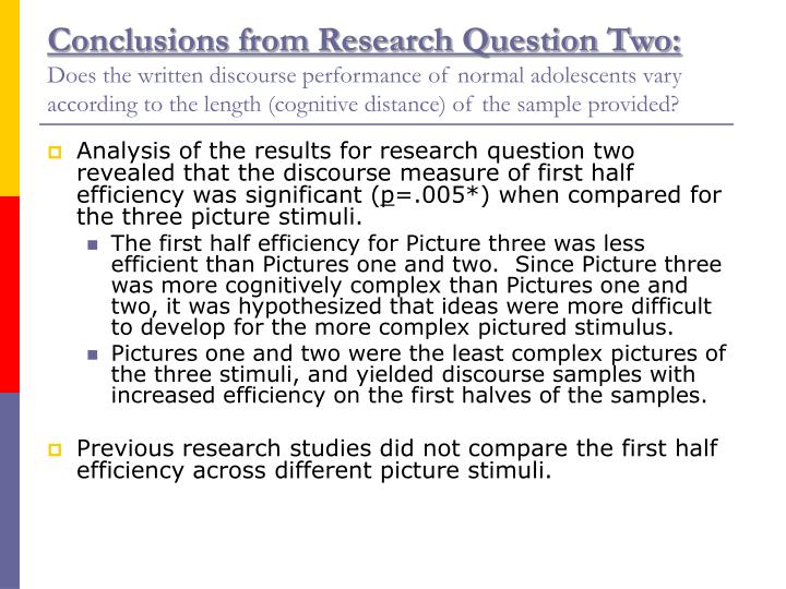 Conclusions from Research Question Two: