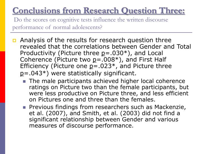Conclusions from Research Question Three: