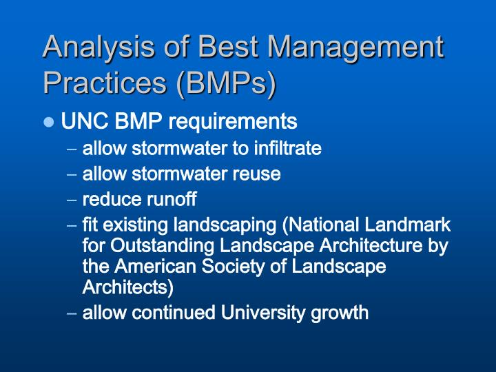 Analysis of Best Management Practices (BMPs)