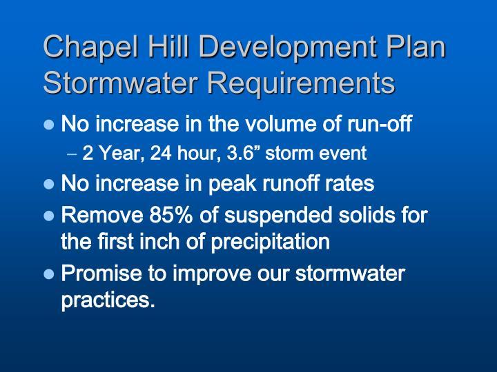 Chapel Hill Development Plan Stormwater Requirements