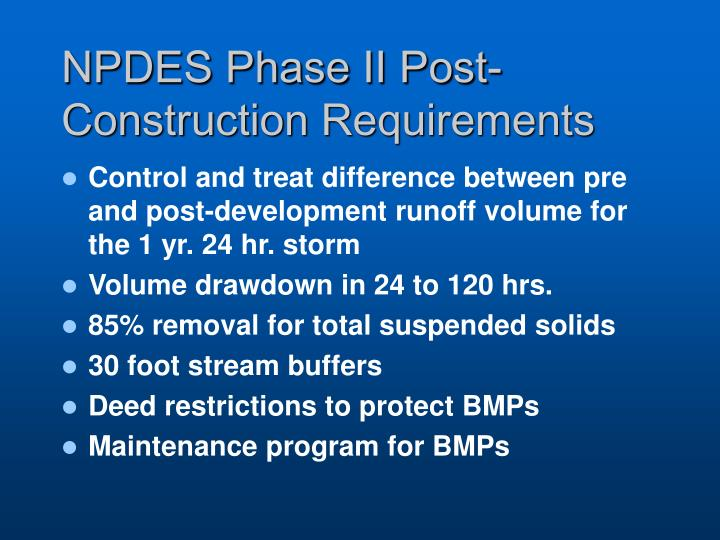 NPDES Phase II Post-Construction Requirements