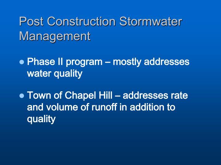 Post Construction Stormwater Management