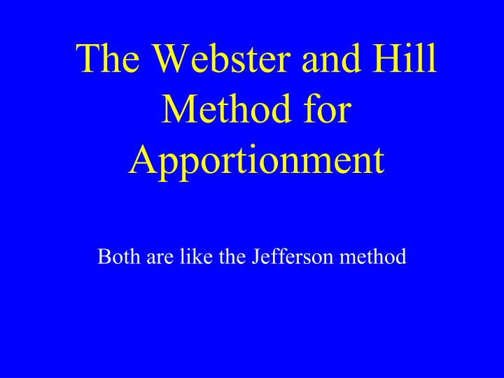 jefferson apportionment essays Michael j caulfield (gannon university), apportioning representatives in the united states congress jefferson's method of apportionment.