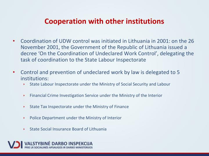 Cooperation with other