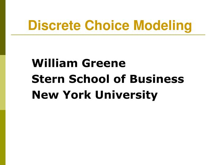 william greene stern school of business new york university n.