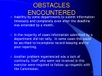 obstacles encountered
