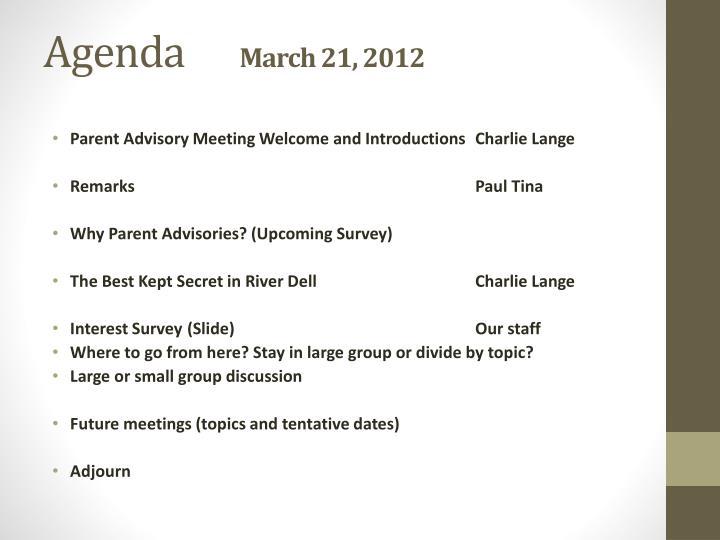Agenda march 21 2012