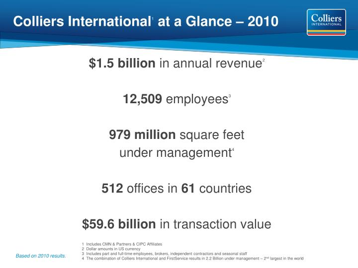 colliers international 1 at a glance 2010