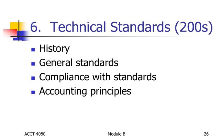 6.  Technical Standards (200s)