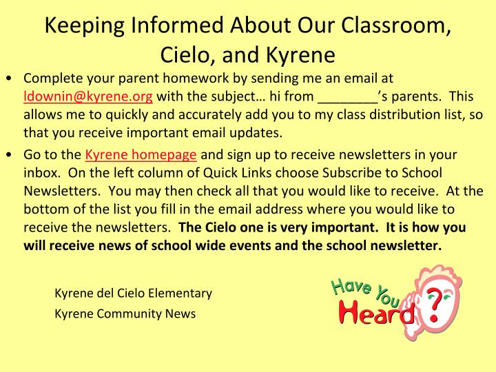 Keeping Informed About Our Classroom,