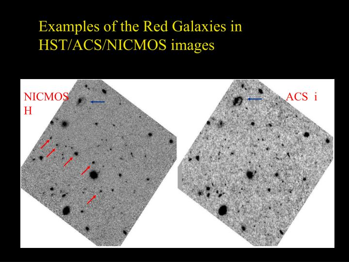 Examples of the Red Galaxies in HST/ACS/NICMOS images