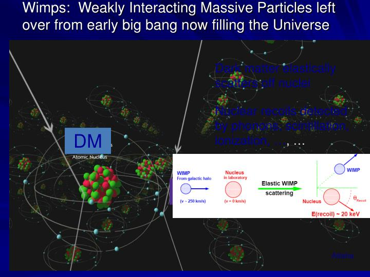 Wimps:  Weakly Interacting Massive Particles left over from early big bang now filling the Universe
