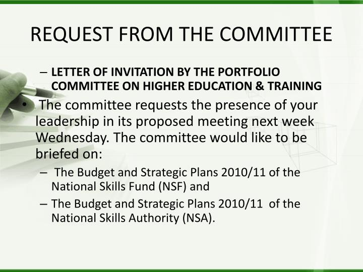 Request from the committee