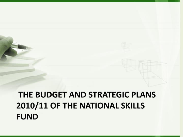 The Budget and Strategic Plans 2010/11 of the National Skills Fund