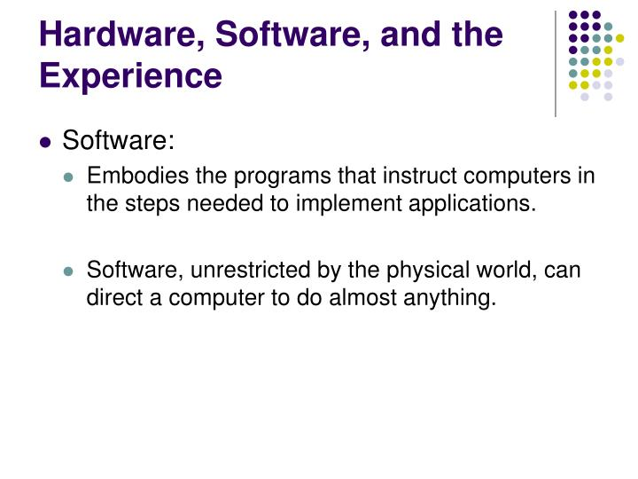 Hardware, Software, and the Experience