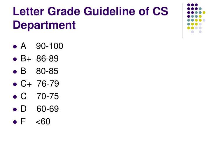 Letter Grade Guideline of CS Department