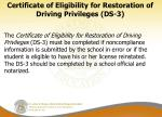certificate of eligibility for restoration of driving privileges ds 3