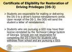 certificate of eligibility for restoration of driving privileges ds 31