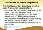 certificate of non compliance