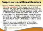 suspensions and reinstatements1
