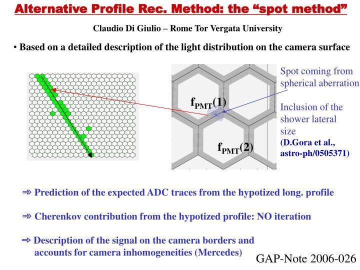"Alternative Profile Rec. Method: the ""spot method"""