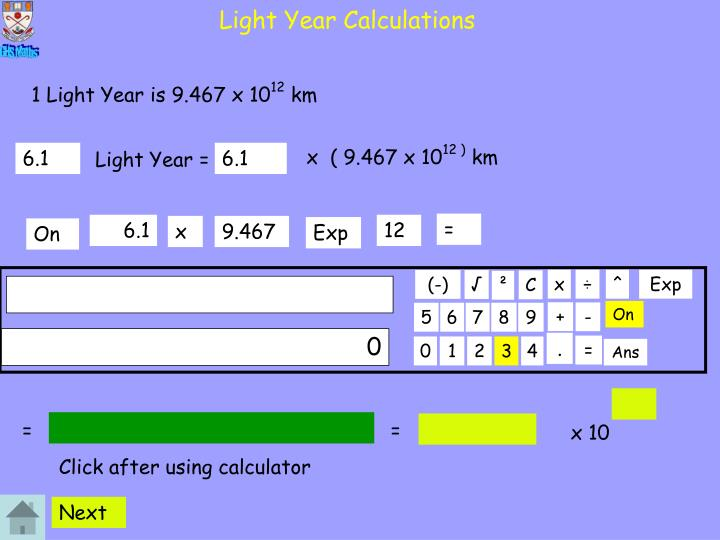 Light Year Calculations