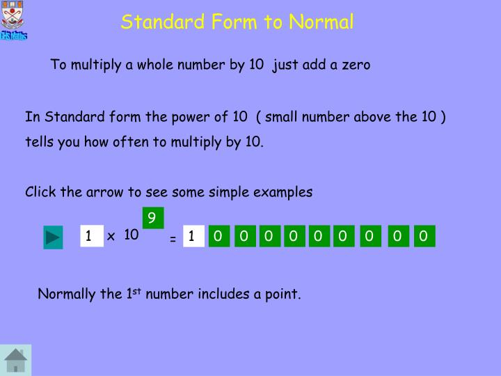 Standard Form to Normal