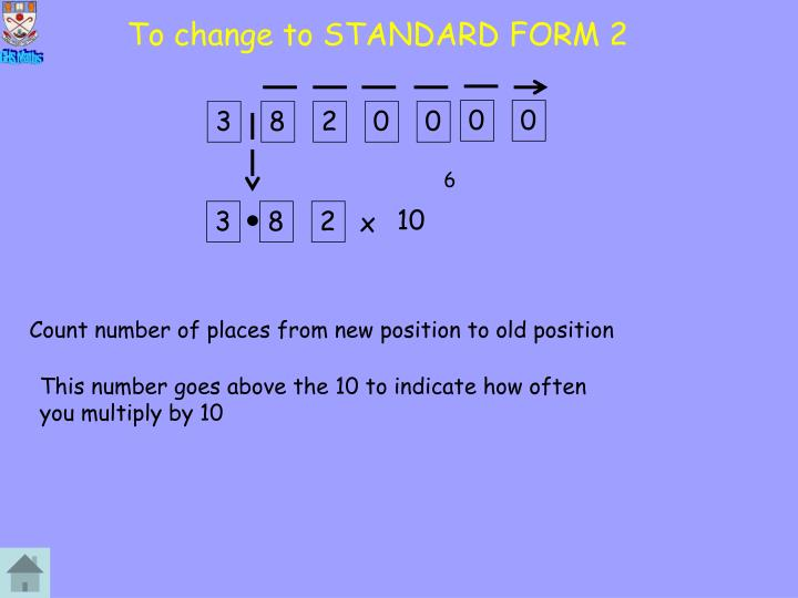 To change to STANDARD FORM 2