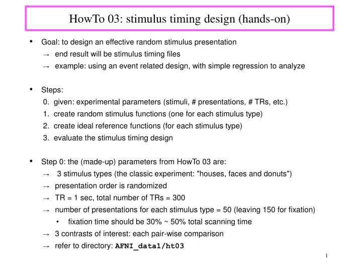 Howto 03 stimulus timing design hands on