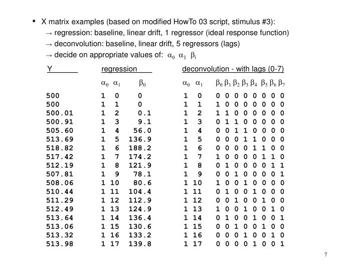 X matrix examples (based on modified HowTo 03 script, stimulus #3):