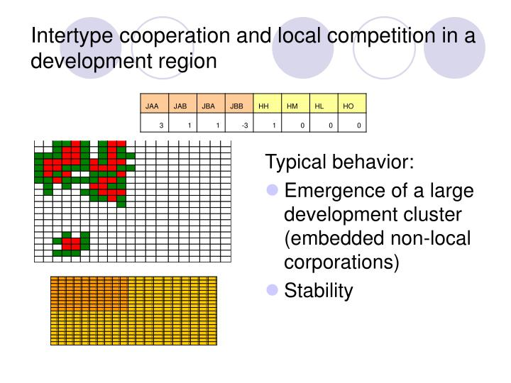 Intertype cooperation and local competition in a development region