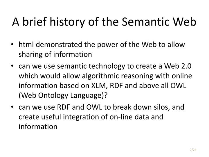 A brief history of the semantic web