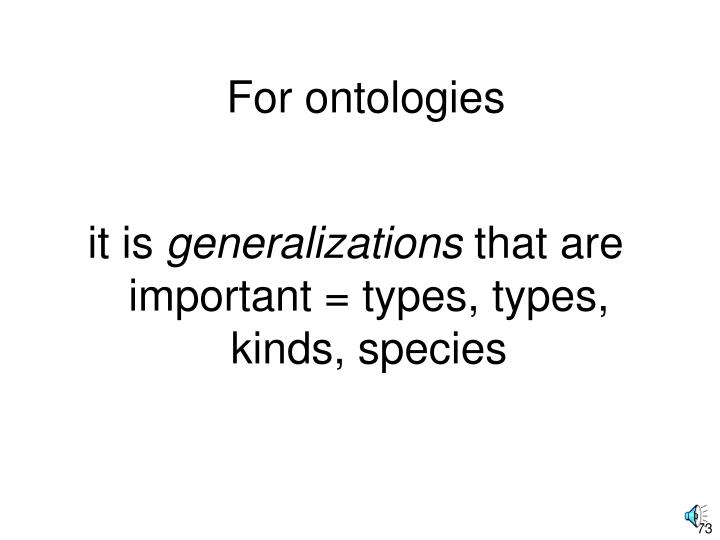 For ontologies