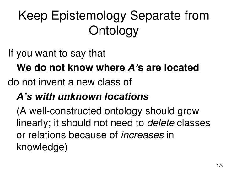 Keep Epistemology Separate from Ontology