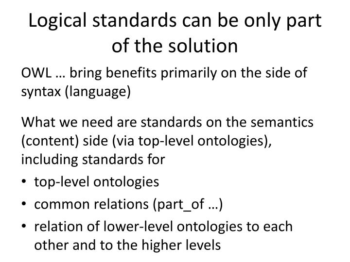 Logical standards can be only part of the solution