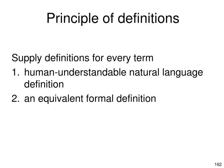 Principle of definitions