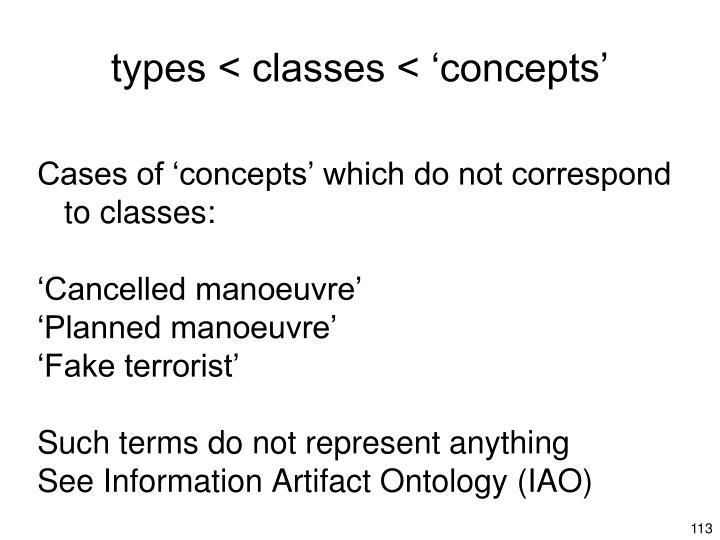 types < classes < 'concepts'