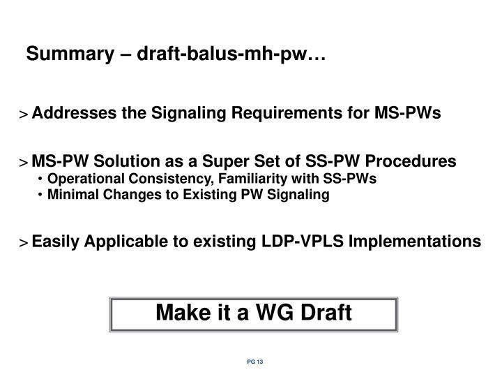 Summary – draft-balus-mh-pw…
