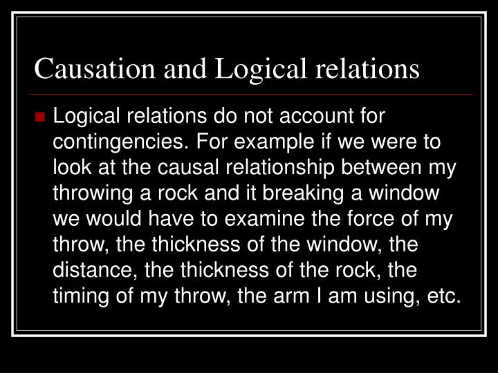Causation and Logical relations