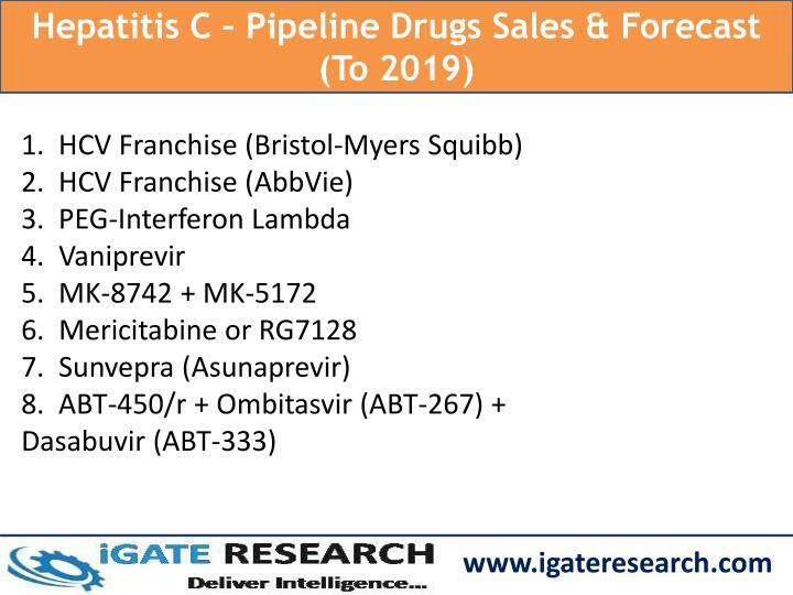 Hepatitis C – Pipeline Drugs Sales & Forecast (To 2019)