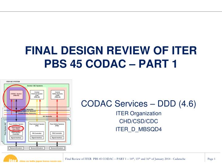 Final design review of iter pbs 45 codac part 1