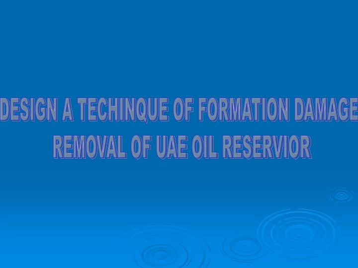DESIGN A TECHINQUE OF FORMATION DAMAGE
