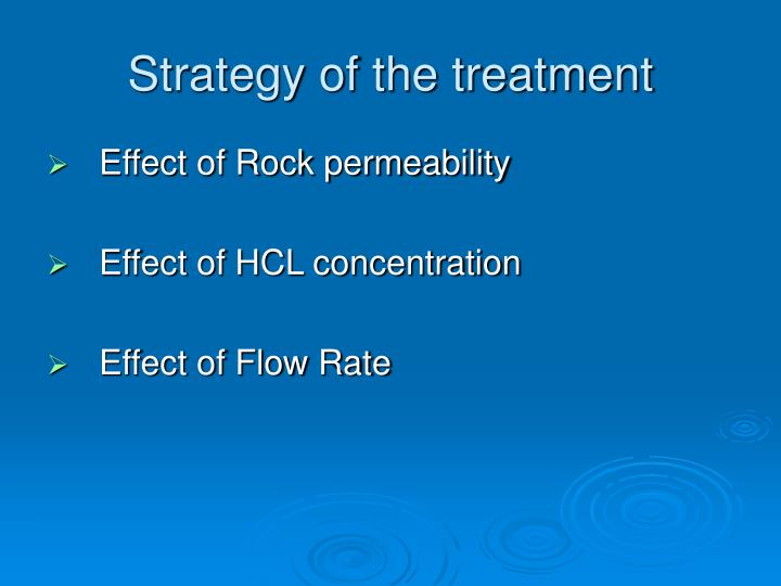 Strategy of the treatment
