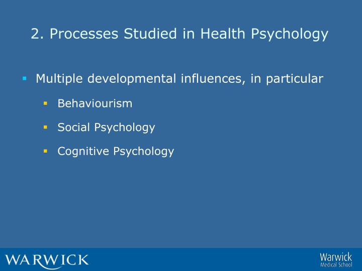 2. Processes Studied in Health Psychology