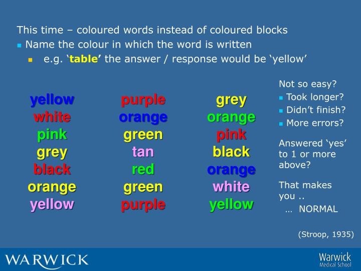 This time – coloured words instead of coloured blocks