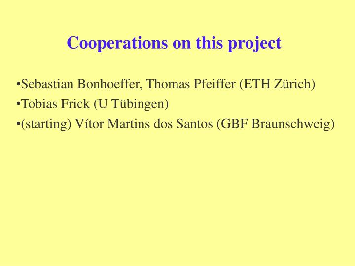 Cooperations on this project