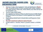 hazard analysis hazard level and source term