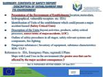 summary contents of safety report description of establishment and its environment