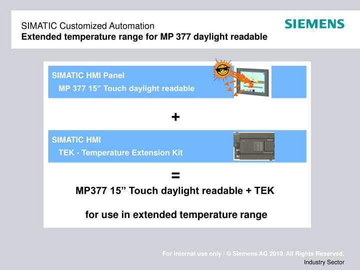 Simatic customized automation extended temperature range for mp 377 daylight readable